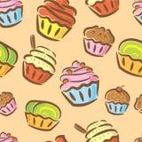 Het naadloze patroon van Cupcake vector illustratie