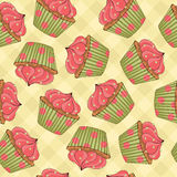 Het Naadloze Patroon van Cupcakes Stock Fotografie