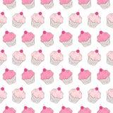Het Naadloze Patroon van Cupcakes Royalty-vrije Stock Foto's