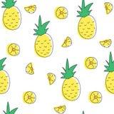 Het naadloze patroon van de ananas Stock Fotografie