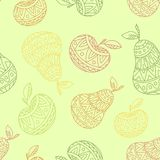 Het naadloze patroon van de appel en van de peer stock illustratie