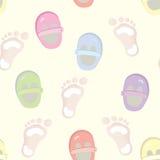 Het naadloze patroon van de baby met voetafdrukken Stock Fotografie