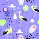 Het Naadloze Patroon van de babydouche met Leuke Ooievaar en Pasgeboren Kind Babyachtergrond voor Decoratie, Behang, Stof vector illustratie
