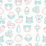 Het naadloze patroon van de babyzorg stock illustratie