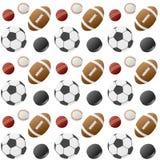 Het Naadloze Patroon van de Ballen van de sport [1] Royalty-vrije Stock Foto's