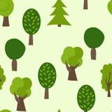 Het Naadloze Patroon van de beeldverhaalboom De zomer vectorachtergrond Royalty-vrije Stock Afbeelding