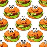Het naadloze patroon van de beeldverhaalcheeseburger Stock Foto
