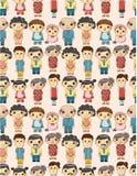 Het naadloze patroon van de beeldverhaalfamilie Royalty-vrije Stock Afbeeldingen