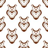 Het naadloze patroon van de beeldverhaaljonge uil Stock Afbeeldingen