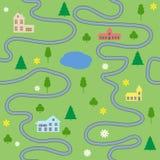 Het naadloze patroon van de beeldverhaalkaart met huizen en wegen Stock Afbeeldingen