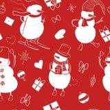 Het naadloze patroon van de beeldverhaalkleur met de wintersneeuwman Stock Afbeelding