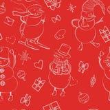 Het naadloze patroon van de beeldverhaalkleur met de wintersneeuwman in hoed, sjaal, voelde laarzen, ski met hart, gift, boog, Ke Stock Afbeelding