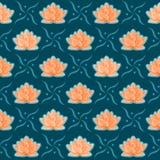 Het Naadloze Patroon van de Bloem van Lotus Royalty-vrije Stock Foto