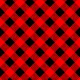 Het naadloze patroon van de buffelsplaid met diagonale lijnen De afwisselende rode en zwarte achtergrond van de vierkantenhouthak royalty-vrije illustratie
