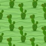Het naadloze patroon van de cactus Stock Fotografie