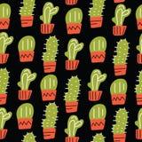 Het naadloze patroon van de cactus Hand getrokken cactus in krabbelstijl Textielontwerp Gemaakt in vector royalty-vrije illustratie