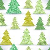 Het naadloze patroon van de Christmassboom, hand getrokken gebruikte lijnentexturen Stock Afbeeldingen