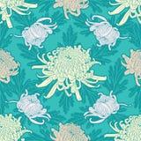 Het naadloze patroon van de chrysantenbloem Stock Fotografie