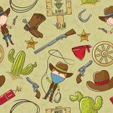 Het naadloze patroon van de cowboy Royalty-vrije Stock Foto's