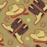 Het naadloze patroon van de cowboy voor achtergrond. Stock Afbeelding