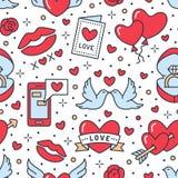 Het naadloze patroon van de Dag van valentijnskaarten Liefde, Romaanse vlakke lijnpictogrammen - harten, verlovingsring, kus, bal vector illustratie