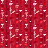 Het Naadloze Patroon van de Dag van rode Roze Valentin van de Liefde royalty-vrije illustratie