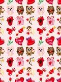 Het naadloze patroon van de Dag van Valentijnskaarten Stock Afbeeldingen