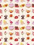 Het naadloze patroon van de Dag van Valentijnskaarten Royalty-vrije Stock Foto's