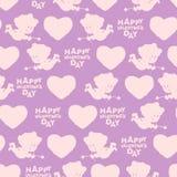 Het naadloze patroon van de Dag van valentijnskaarten Silhouet van Cupido Stock Foto