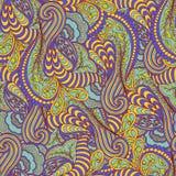 Het naadloze patroon van de de lentekleur met overladen gedetailleerd ornament Royalty-vrije Stock Fotografie