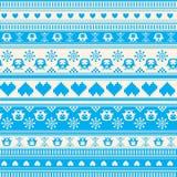Het naadloze patroon van de de Wintersweater met Harten en Uilen Royalty-vrije Stock Foto