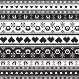 Het naadloze patroon van de de Wintersweater met Harten en Uilen Stock Afbeelding