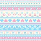 Het naadloze patroon van de de Wintersweater met Harten en Uilen. Blauw-roze Royalty-vrije Stock Afbeelding