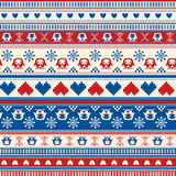 Het naadloze patroon van de de Wintersweater met Harten en Uilen. Rood-blauw v Royalty-vrije Stock Fotografie