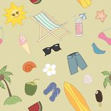 Het naadloze patroon van de de zomerreis Stock Afbeeldingen