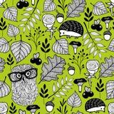 Het naadloze patroon van de de zomertijd met wilde vogels en dieren Stock Foto