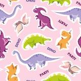 Het naadloze patroon van de Dinosaurus Dierlijke roze achtergrond met kleurrijke Dino Vector illustratie stock afbeelding