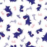 Het naadloze patroon van de Dinosaurus Dierlijke witte achtergrond met donkerblauwe Dino Vector illustratie stock afbeelding
