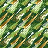 Het naadloze patroon van de driehoeks groene en gouden luxe Stock Afbeelding