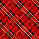 Het naadloze patroon van de geruit Schots wollen stofplaid Rode en zwarte kleur Naadloze waterverf vector illustratie