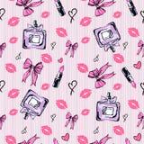 Het naadloze patroon van de glamourmanier in roze kleur Stock Foto