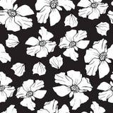 Het naadloze patroon van de granaatappel De bloemenvector herhaalt achtergrond op zwarte Bloemenpatroon met decoratieve granaatap Royalty-vrije Stock Afbeeldingen