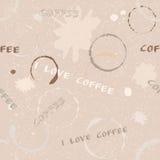 Het naadloze patroon van de Grungekoffie met tekst Stock Afbeeldingen