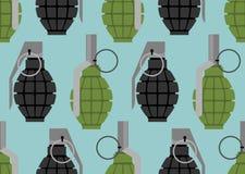 Het naadloze patroon van de handgranaat Militaire munitietextuur Stock Foto's