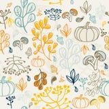 Het naadloze patroon van de herfst Elementenontwerp van blad Stock Afbeelding