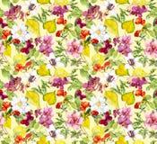 Het naadloze patroon van de herfst Gele bladeren, bloemen Bloemenwaterverfachtergrond Royalty-vrije Stock Foto's
