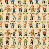 Het naadloze patroon van de het westencowboy vector illustratie