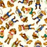 Het naadloze patroon van de het westencowboy Stock Afbeelding
