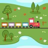 Het Naadloze Patroon van de Kaart van de trein Royalty-vrije Stock Foto