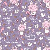 Het naadloze patroon van de kattenbaby Royalty-vrije Stock Fotografie